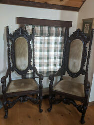 Antique Victorian Charles Ii Style Carved Oak Arm Chair Pair 19th Century