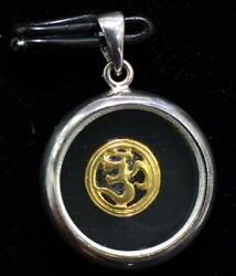 Pure 925 Solid Sterling Silver Om Aum On Glass Hindu God Religious Pendant- 1009