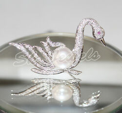 1.42cts Round Diamond Pearl Ruby Gemstone 18k Solid White Gold Swan Brooch