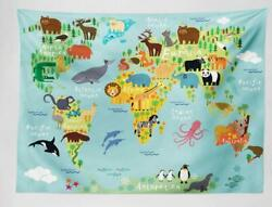 Ambesonne Wanderlust Tapestry Animal Map of The World for Bed Living Room Dorm