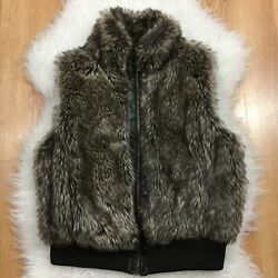 Dollhouse Faux Fur Vest L Brown Mink Fuzzy Women's Zip Up Jacket Sleeveless