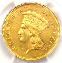 1866 Three Dollar Indian Gold Coin 3 - Pcgs Uncirculated Details Unc Ms
