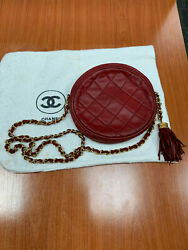 Round Clutch With Chain Quilted Burgundy Color With Dustbag