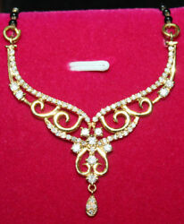 Black Friday 1.35ct Diamond 14k Solid Yellow Gold Mangalsutra Necklace