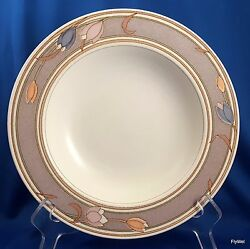 Mikasa Intaglio Meadow Sun Rimmed Soup Bowl Cac02 Taupe Pastel Tulips 9-1/4