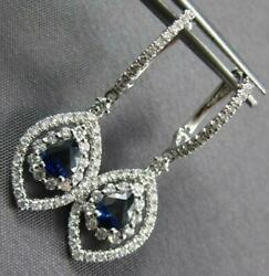 1.38ct Diamond And Aaa Sapphire 18kt White Gold Classic Tear Drop Hanging Earrings