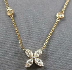 1.11ct Diamond 14k Rose Gold Flower Marquise And Round By The Yard Love Necklace