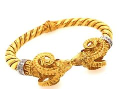 Vintage Style Yellow Gold And Diamond Red Ruby Eyes Rams Head Bangle Bracelet