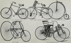 1900 Antique Print Of Ancient Bicycles. Velocipedes. Tricycles. Auto. 120 Years