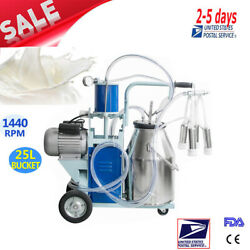 Usa Electric Milking Machine For Cows +25l Bucket Vacuum Piston Pump Automatic