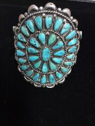 Vintage/old Pawn Native American Huge Statement Turquoise Cuffandrdquo Exquisite