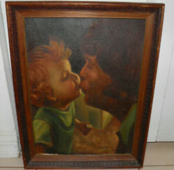 Vintage Mid-century Mother Nanny Kissing Child Oil Painting Signed 15x20 Bin