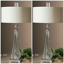 Two Modern Thick Twisted Glass Nickel Metal Table Lamps