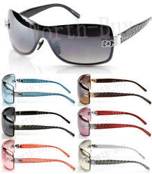 Womens Shield Wrap Around Sunglasses Fashion Designer Shades Rimless Retro 1 Len $9.99