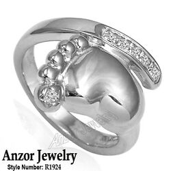 Baby Foot Design 14k Solid White Gold Ring Human Feet Ring Step Ring R1924