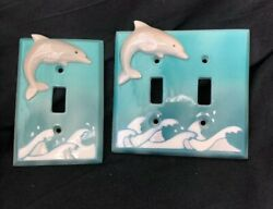 Vintage Set Of 2 Ceramic Dolphin Light Switch Covers Hand Painted All Fired Up