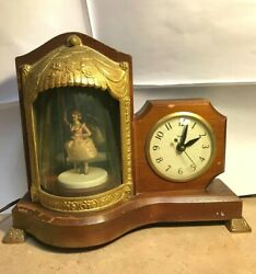 Vintage Dancing Ballerina United Electric Clock Corp Model 870 Animated And Music