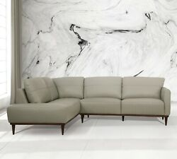 Acme Furniture Tampa Airy Green Italian Leather Sectional Sofa Living Room Set