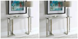 Two Locke Modern Hollywood Glam 51 Steel Sofa Console Table Glass Top Uttermost