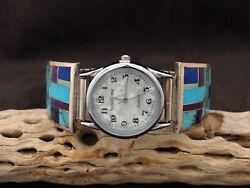 Southwestern Multi-color Inlay Sterling Silver Watch Band