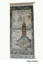 Vintage Chinese Wool Wall Hanging Rug Tapestry 'temple W Lake And Boats'