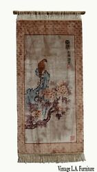 Vintage Chinese Wall Hanging Rug Tapestry 'hawk Sitting On A Tree Limb' Signed