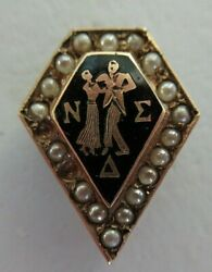 Usa Fraternity Pin Nu Sigma Delta. Made In Gold 10k. Marked 1403