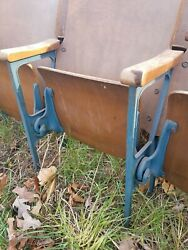 Antique Decorative Iron And Wood Theater Seat