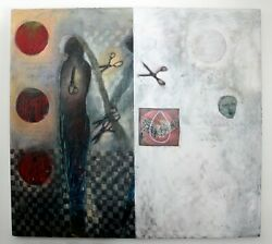 Contemporary Large Cindy Kane Texture Acrylic Canvas Painting Checkered Past 90s