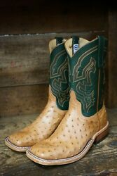 Anderson Bean Menand039s Cognac Ostrich And Green Glove Square Toe Western Boots 324770