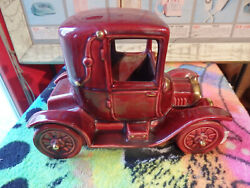 Vtg Metlox Manufacturing Inc.pottery Red With Gold Accents Ford Model T