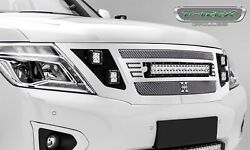 6317870 Polished Main Grille W/1 20 In Led Light Bar And 4 3 In. Led Pod T-rex