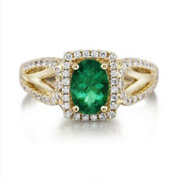 1.65ct Natural Round Diamond 14k Solid Yellow Gold Emerald Cocktail Ring Size 7