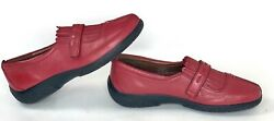 Hotter Comfort Concepts Womens Festival Loafer Flats Red Leather Shoes Size 7.5