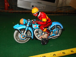 Vintage Tin Friction Us Zone German Toy Motorcycle Working