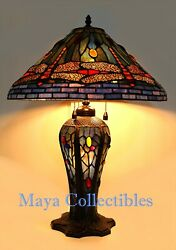 Vintage Stained Glass Dragonfly Table Lamp With Cabochons And Lighted Base 26 H