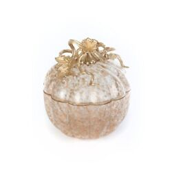 Jay Strongwater Erin Leaf And Vine Gilded Large Glass Jar Sdh2452-292 Home Decor