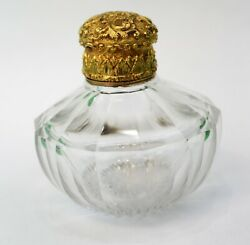 19th C. Antique Crystal Scent Perfume Bottle 22k Solid Gold Hinged Cap - Collar