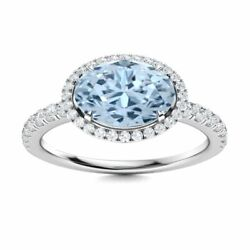 Certified 14k White Gold Ring Natural Oval Cut Aquamarine And Round Diamond
