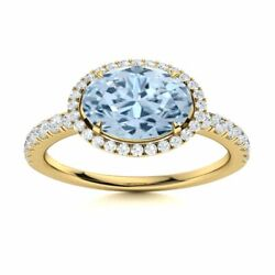Certified 14k Yellow Gold Ring Natural Oval Cut Aquamarine And Round Diamond