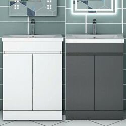500mm 600mm White Bathroom Sink And Cabinet Cupboards Freestanding Vanity Units