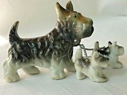 Vintage Terrier Dogs with Puppies on Leash Figurine Ceramic Porcelain Japan
