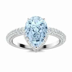 2.12carat Natural Pear Aquamarine And Si Diamond 14k Solid White Gold Womenandrsquos Ring