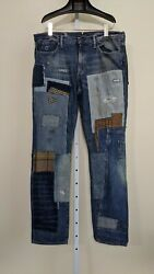 Artisan Patchwork Deconstructed Jeans Size 32 35x32 Rrl Polo Greg L