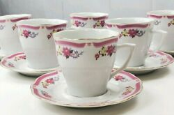 6 Allied Design White Tea Cup And Saucer Sets Pink Purple Wildflowers Gold Accent