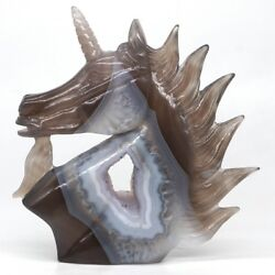 5.1and039and039 Unicorn Horse Head Natural Gem Geode Agate Carved Reiki Healing Home Decor