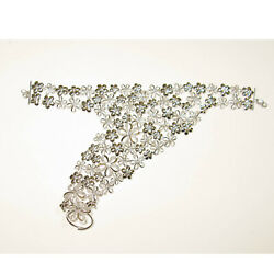 4.96ct Pave Diamond 925 Sterling Silver Flower Slave Bracelet With Ring Jewelry