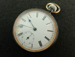 Vintage 51mm Omega Open Face Pocket Watch With Gun Metal Casing - Keeping Time