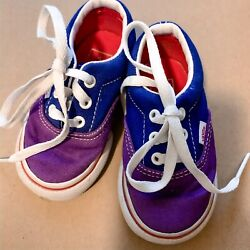 Vans Off The Wall Purple And Blue Size 4 Toddler Skater Shoes Pre Owned