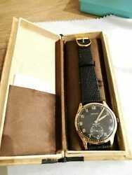 Vintage Military Zenith Pink Gold Watch With Box - Engraved Case